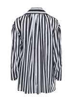 配腰带条纹图案罩衫