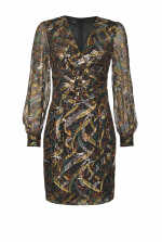 Midi-length dress in cashmere-print fil coupé