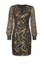 佩斯里印花fil coupé剪线中长连衣裙