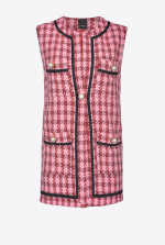Waistcoat in large check hopsack