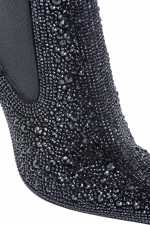 Leather and rhinestone ankle boots