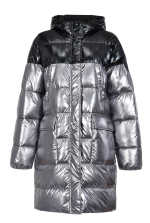 Long laminated quilted coat