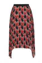 Heart-print pleated skirt