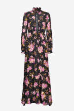 Paisley print dress with lace inserts