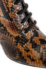 蟒蛇纹印花皮革及踝靴