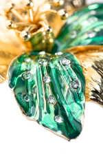 水晶装饰涂釉兰花饰针