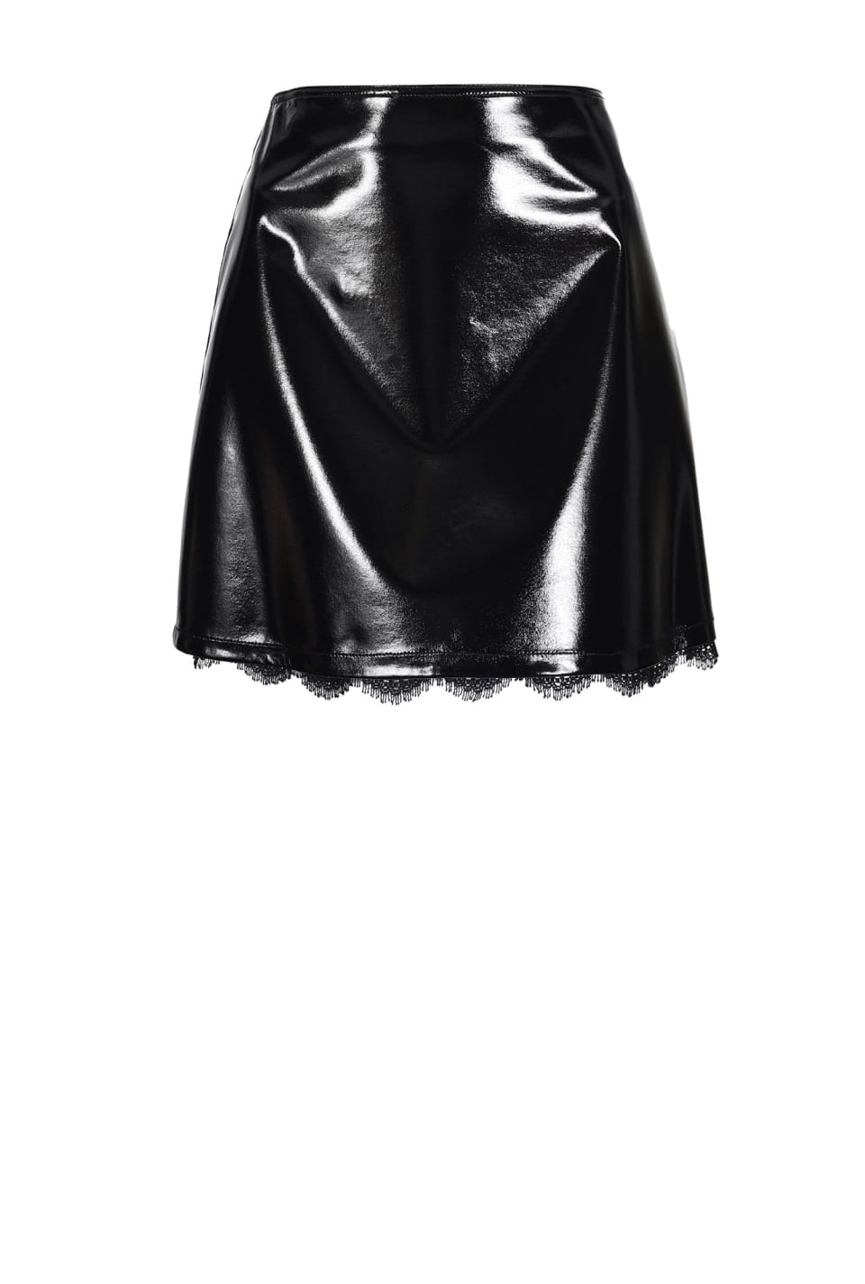 Stretch patent leather-look mini skirt with lace