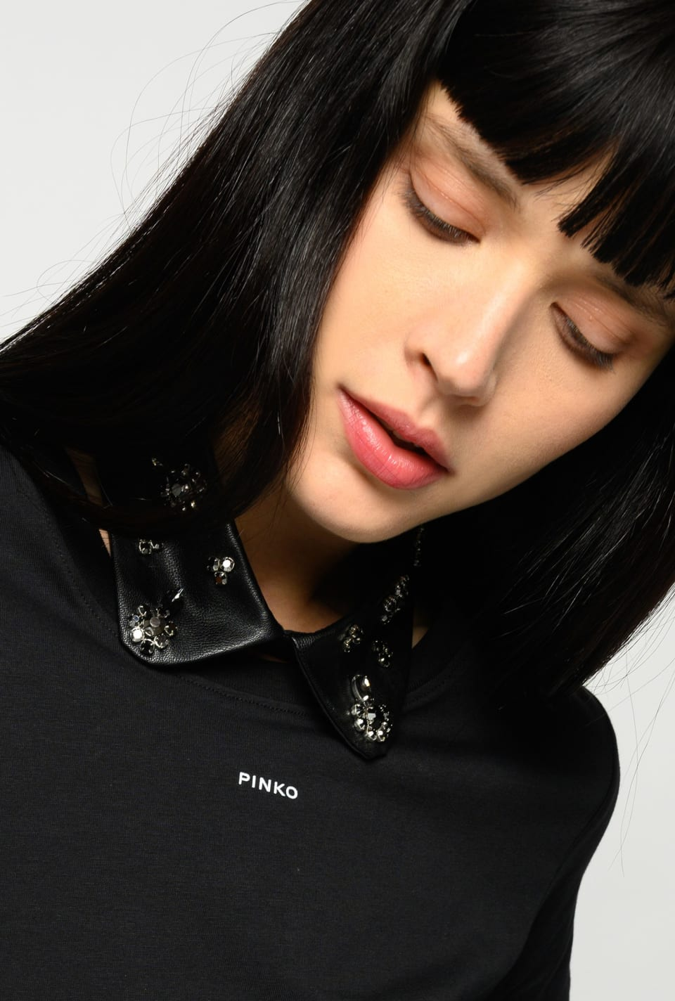 Leather-look collar with jewel embroidery - Pinko