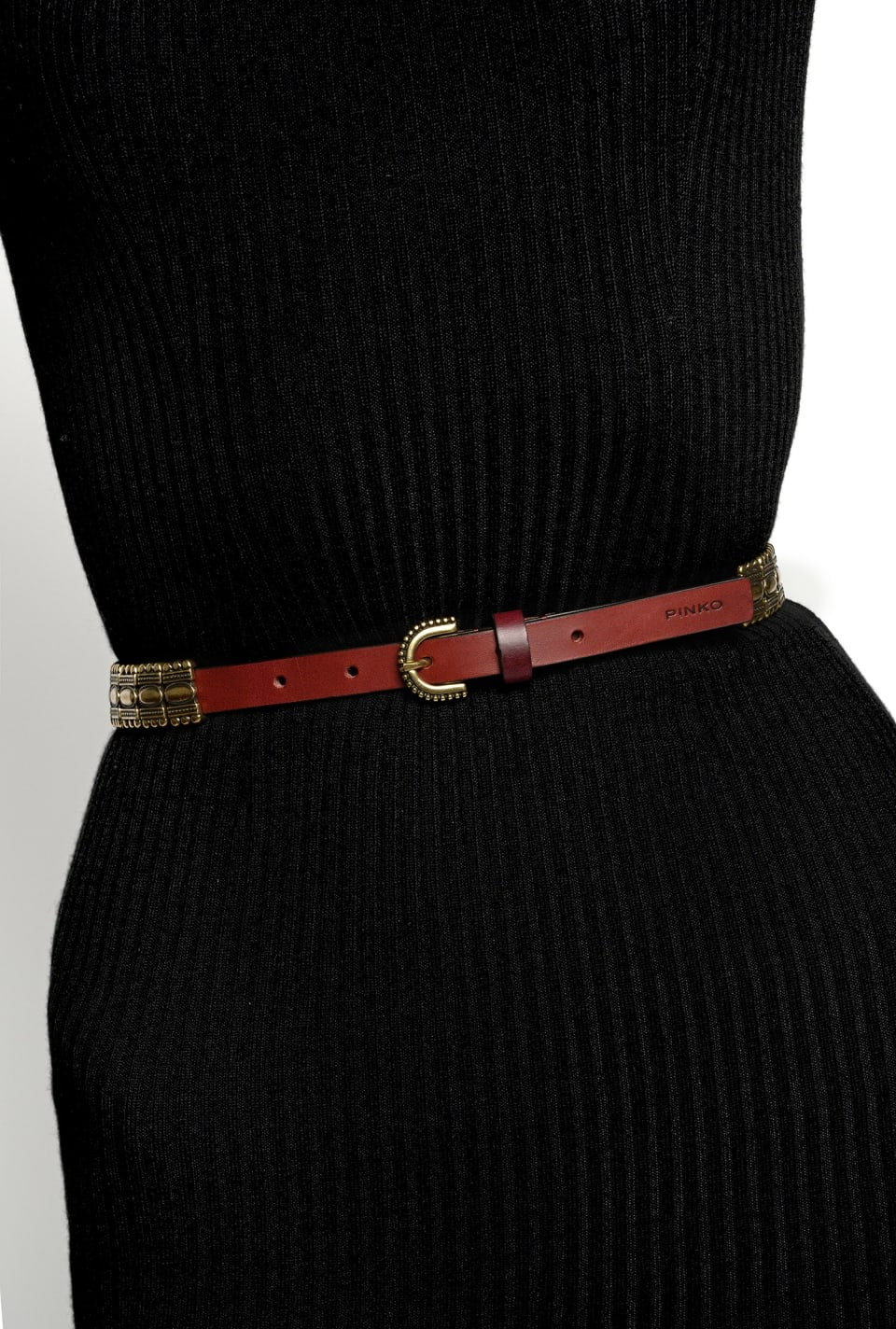 Narrow belt with metal plates - Pinko