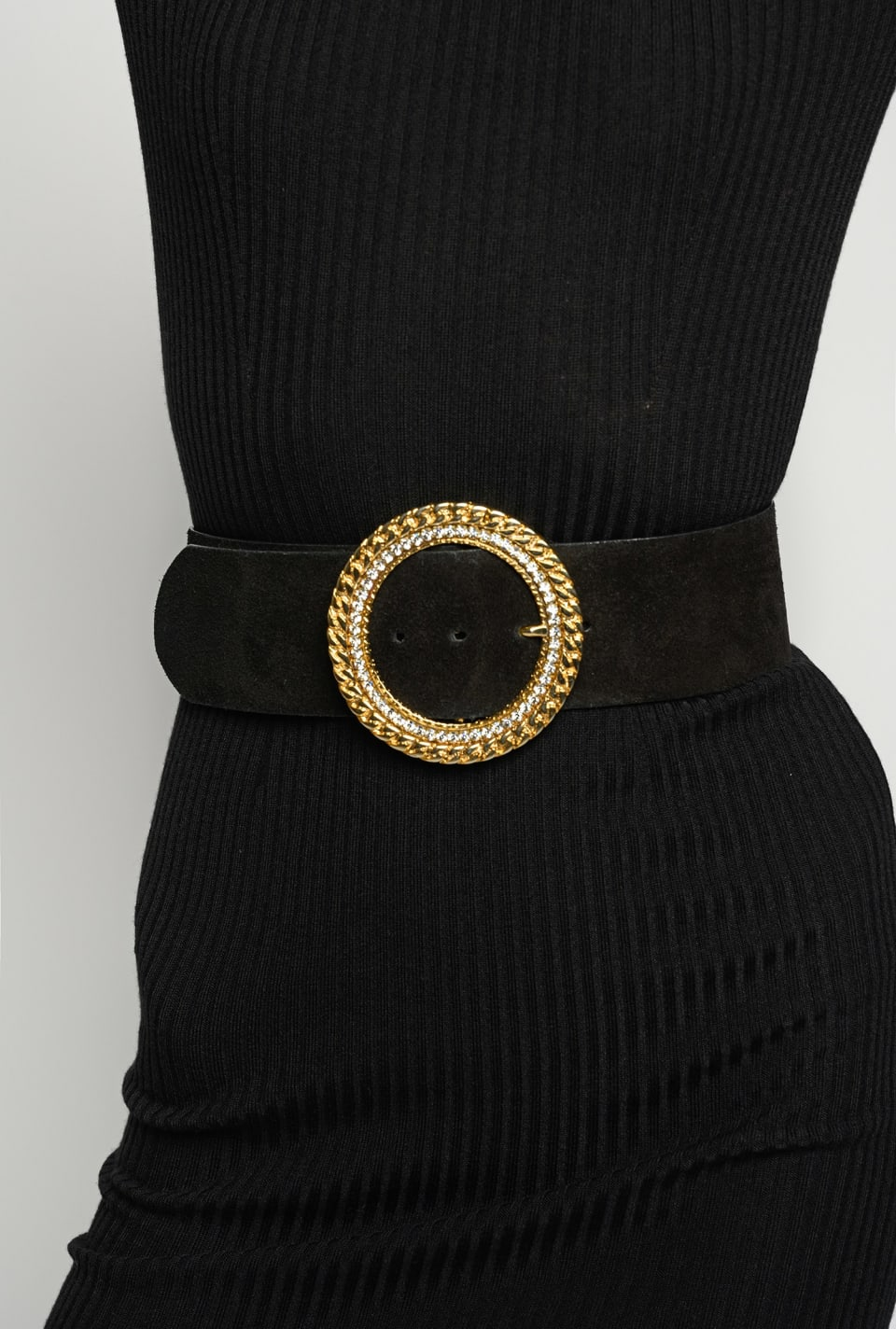 Suede belt with circular buckle - Pinko