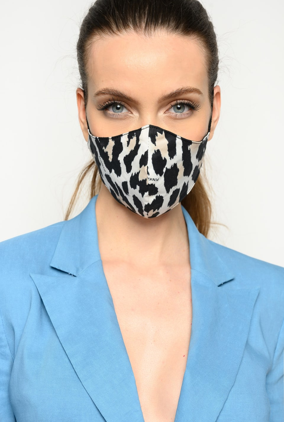 Shaped face mask with leopard print - Pinko