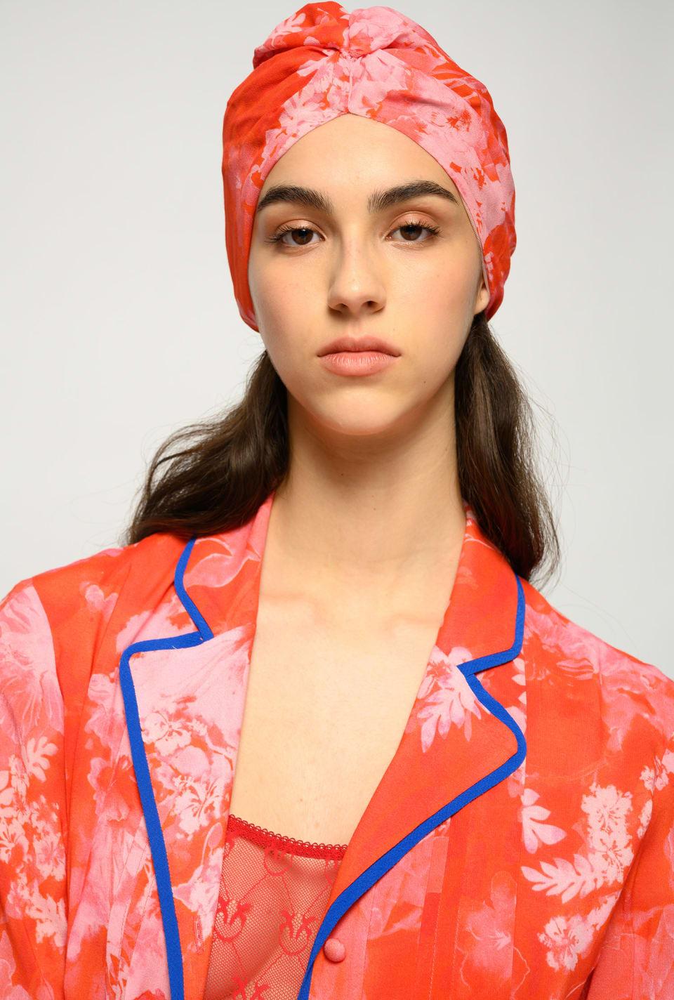 Hibiscus print turban - Pinko