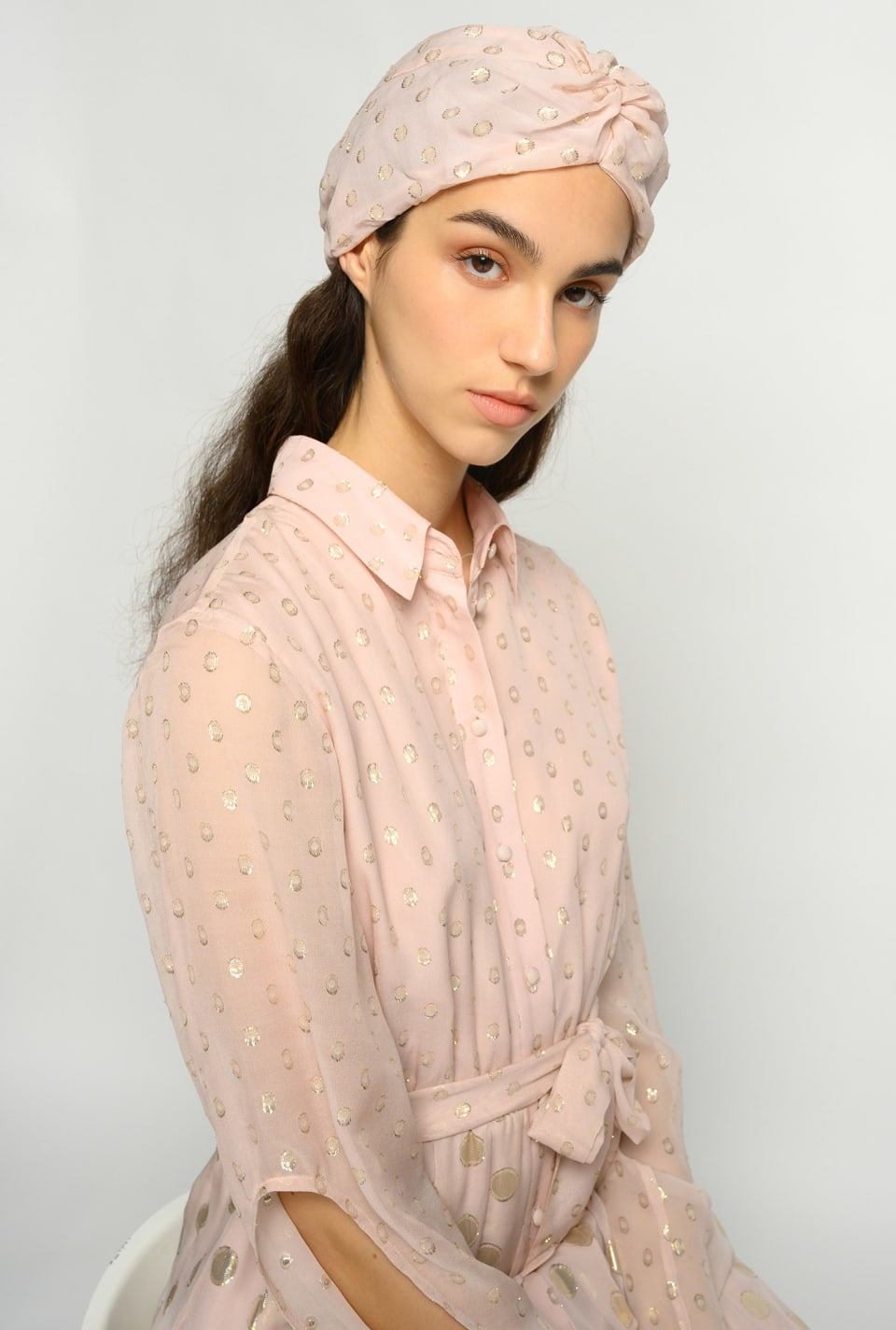Polka dot embroidered turban - Pinko