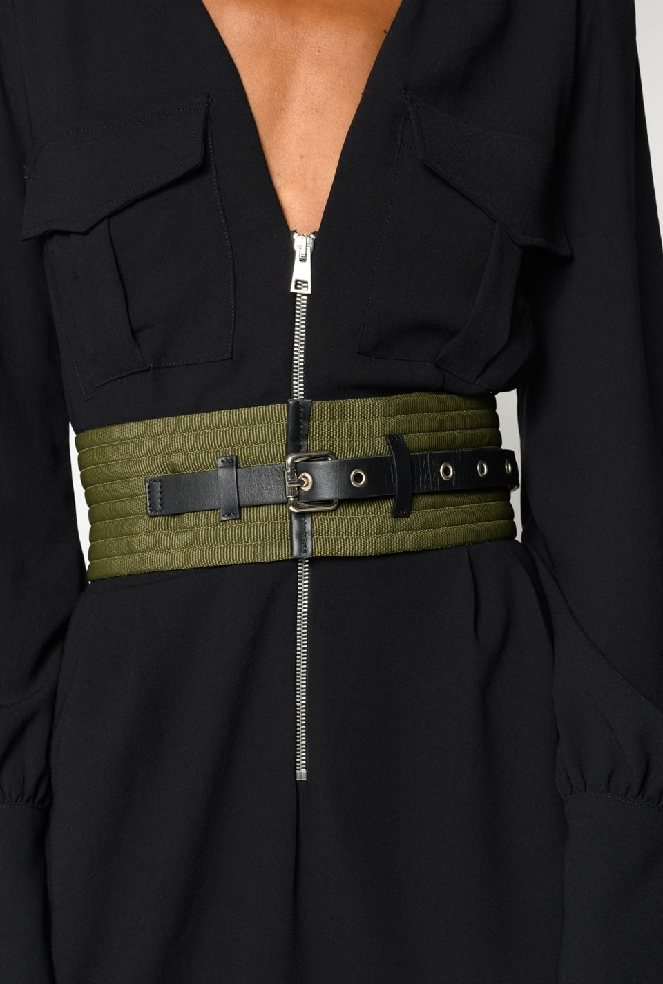 Corset belt in technical ribbon