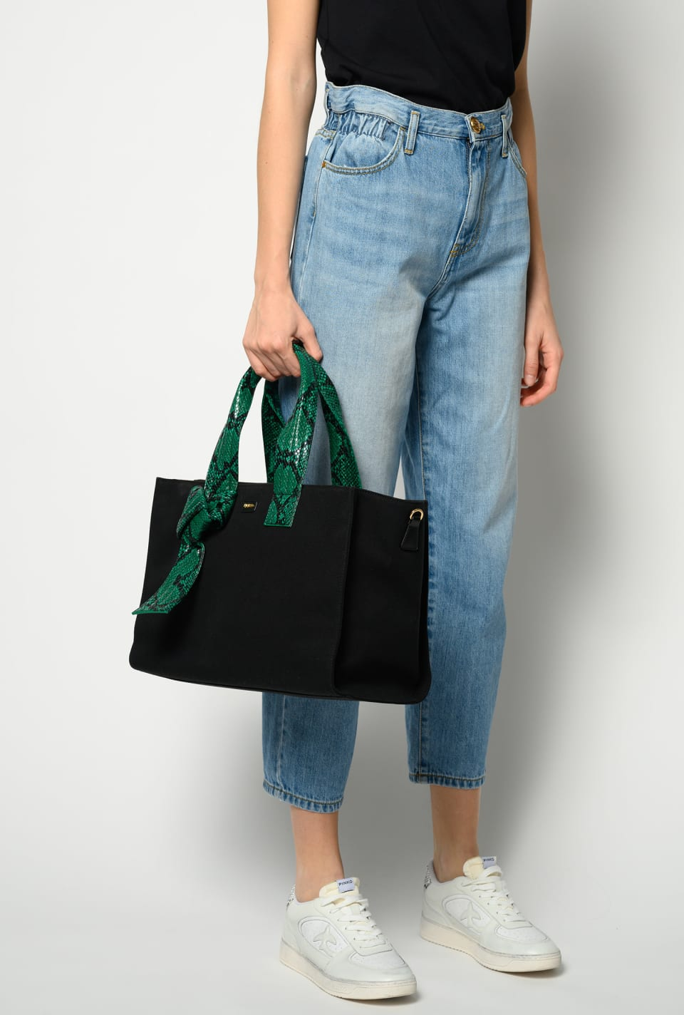 Medium Shopping Bag in recycled canvas - Pinko