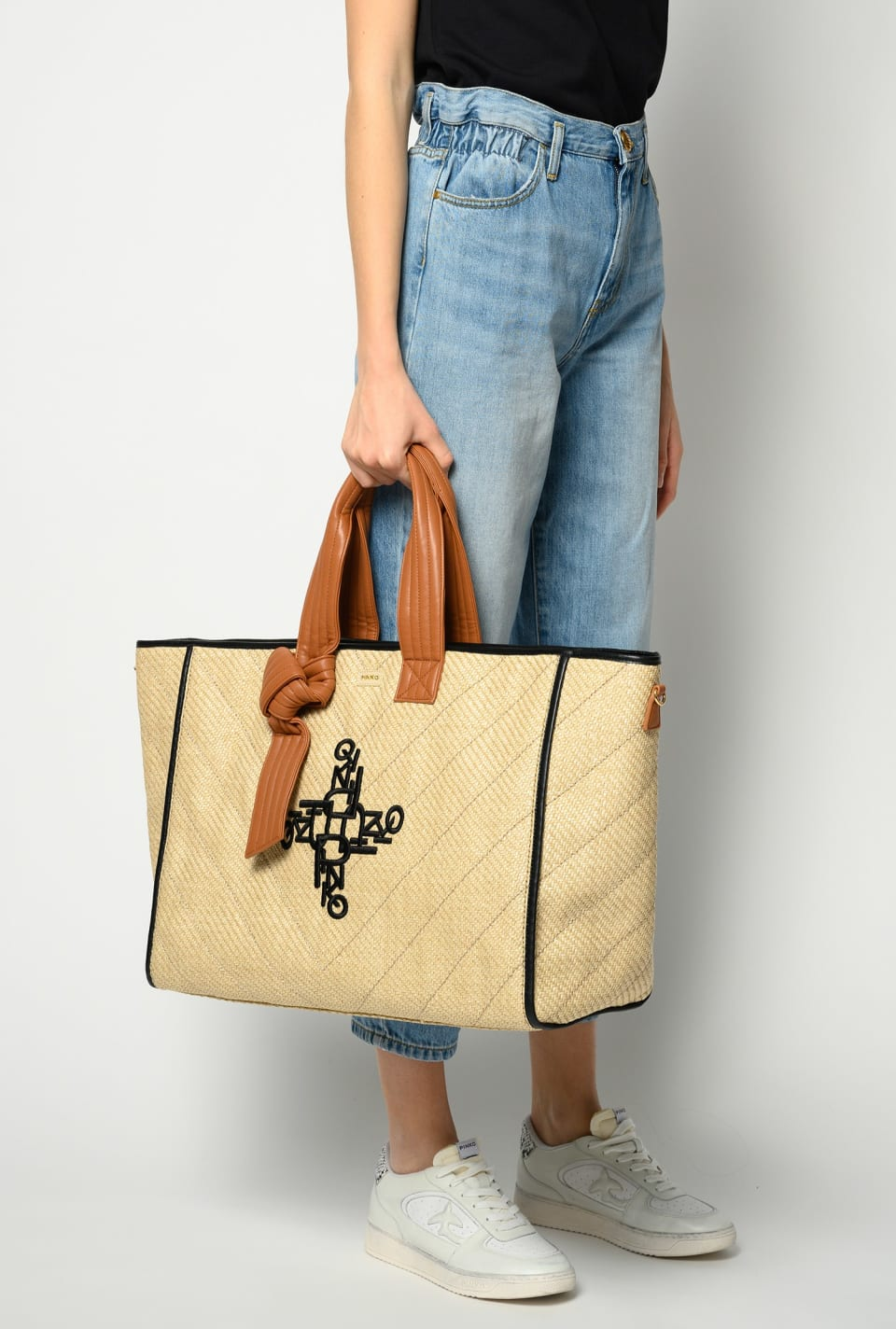 Big Shopping Bag in embroidered raffia - Pinko
