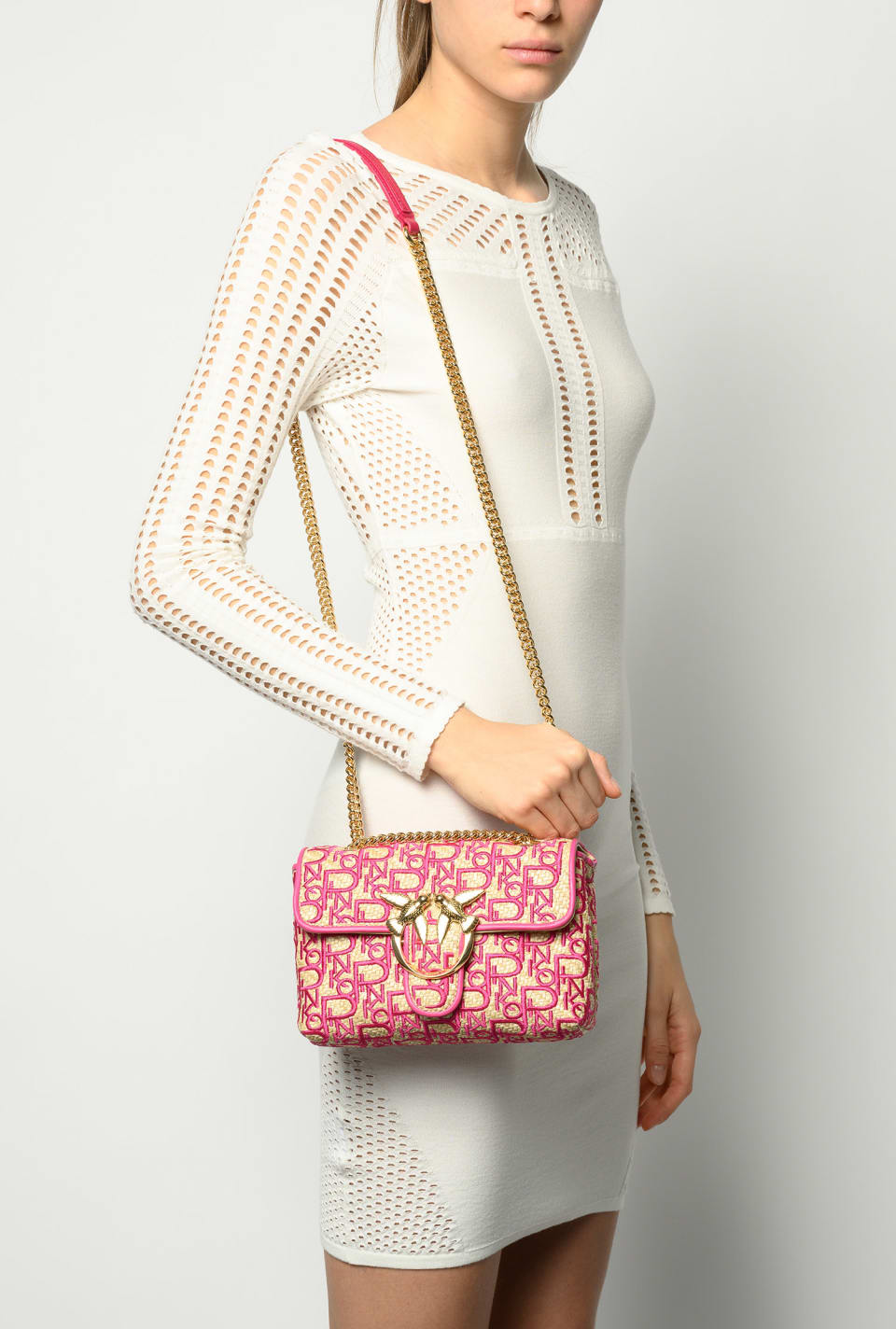 Mini Love Bag Puff Soft Rafia ricamata - Pinko
