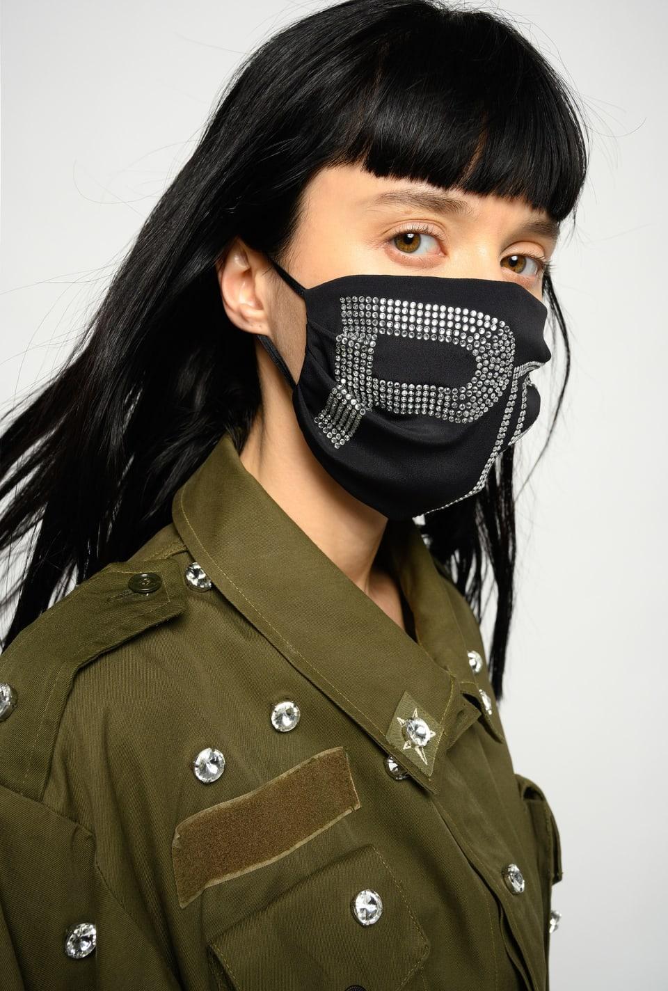 "REIMAGINE rhinestone ""P"" face mask - Pinko"