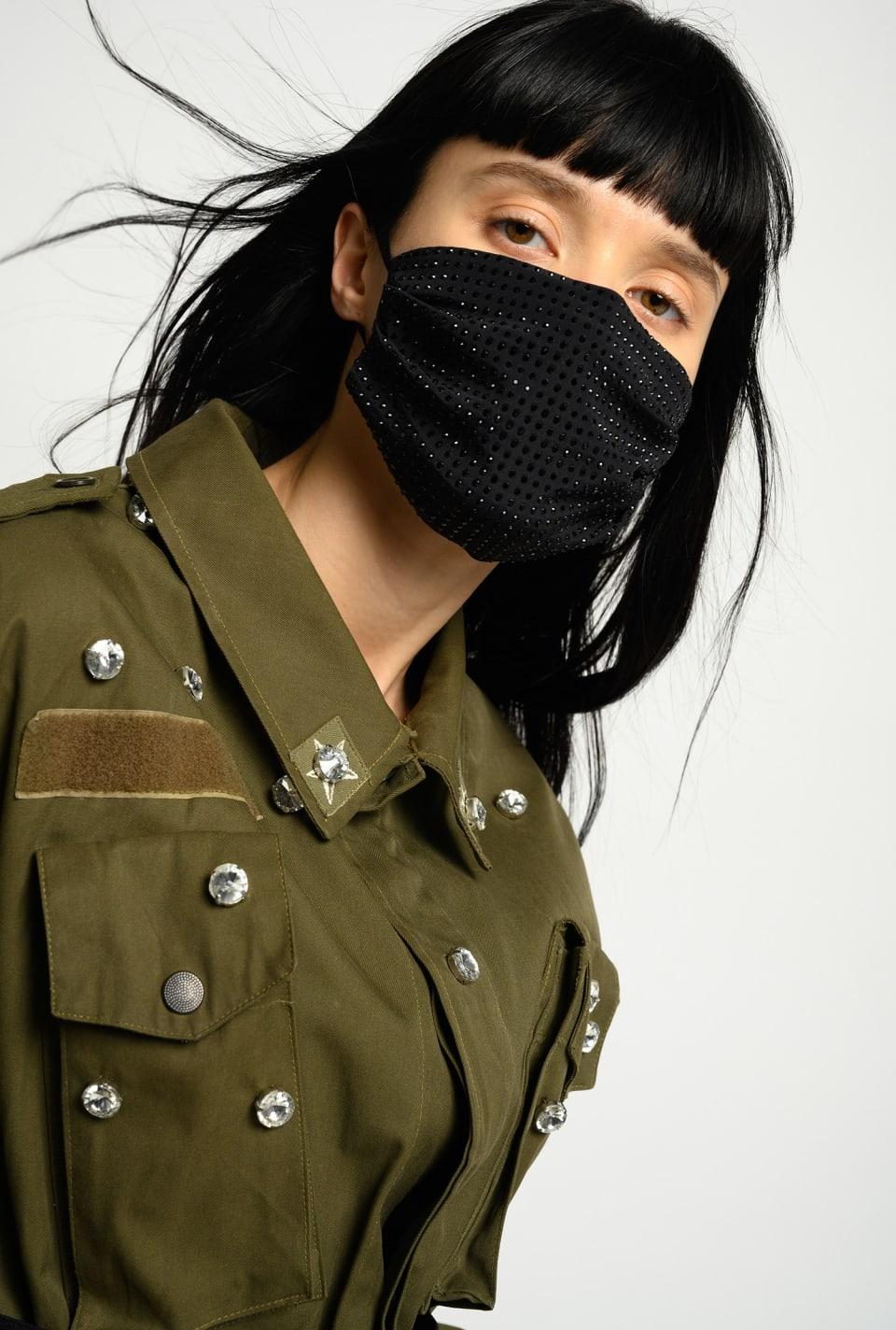 REIMAGINE rhinestone face mask - Pinko