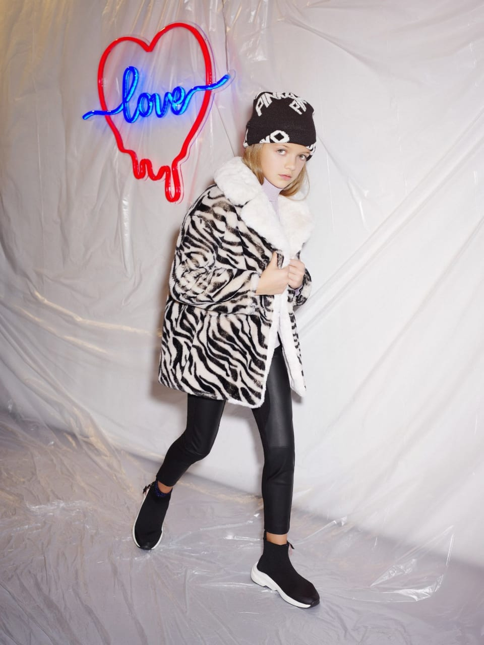 Zebra faux fur coat