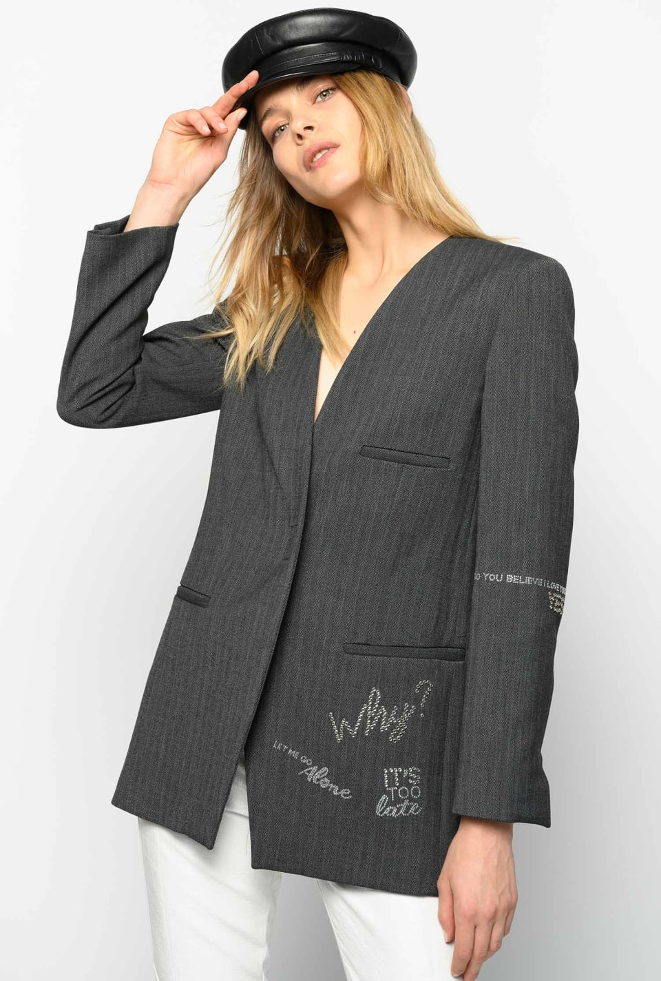 Blazer with herringbone pattern