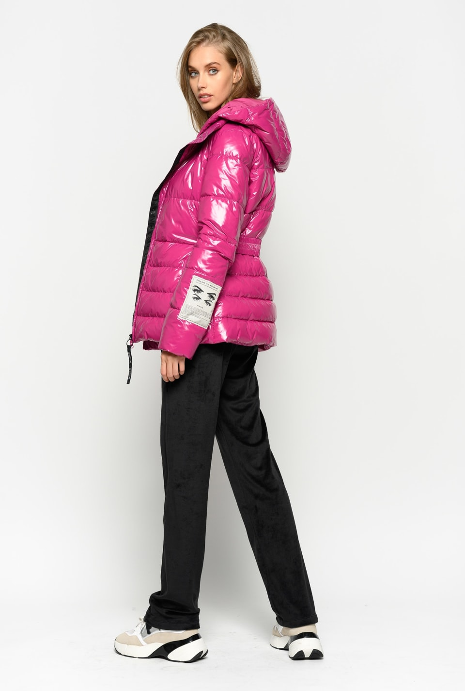 Glossy quilted coat