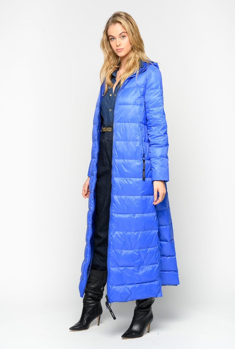 Glossy reversible quilted maxi coat