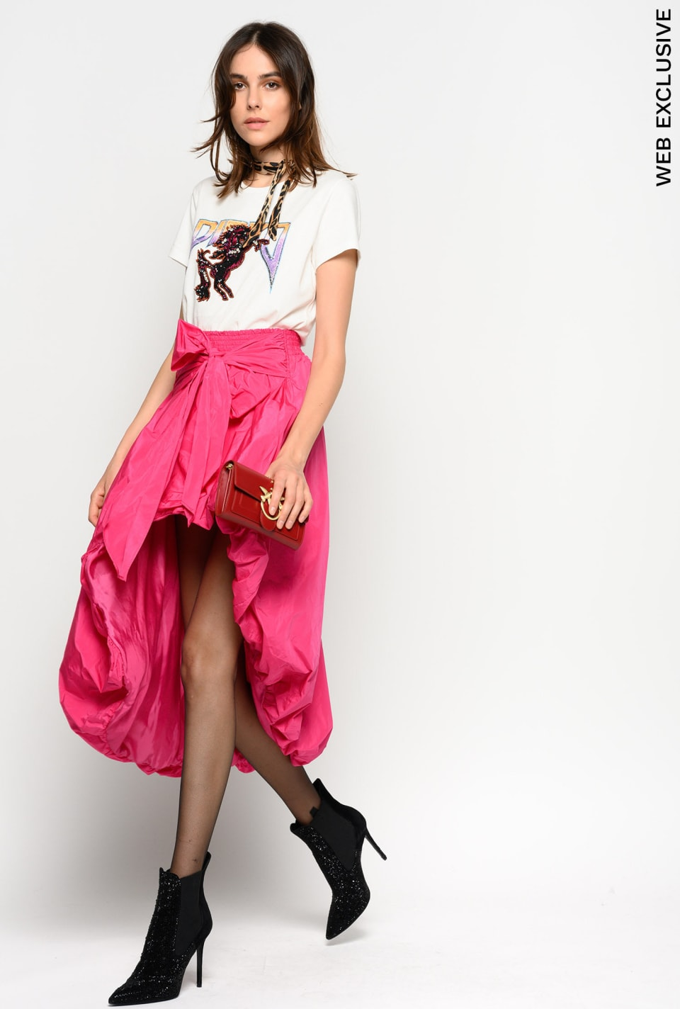 Taffeta skirt with bow