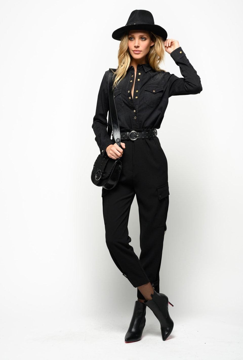 Flared poly crepe cargo trousers
