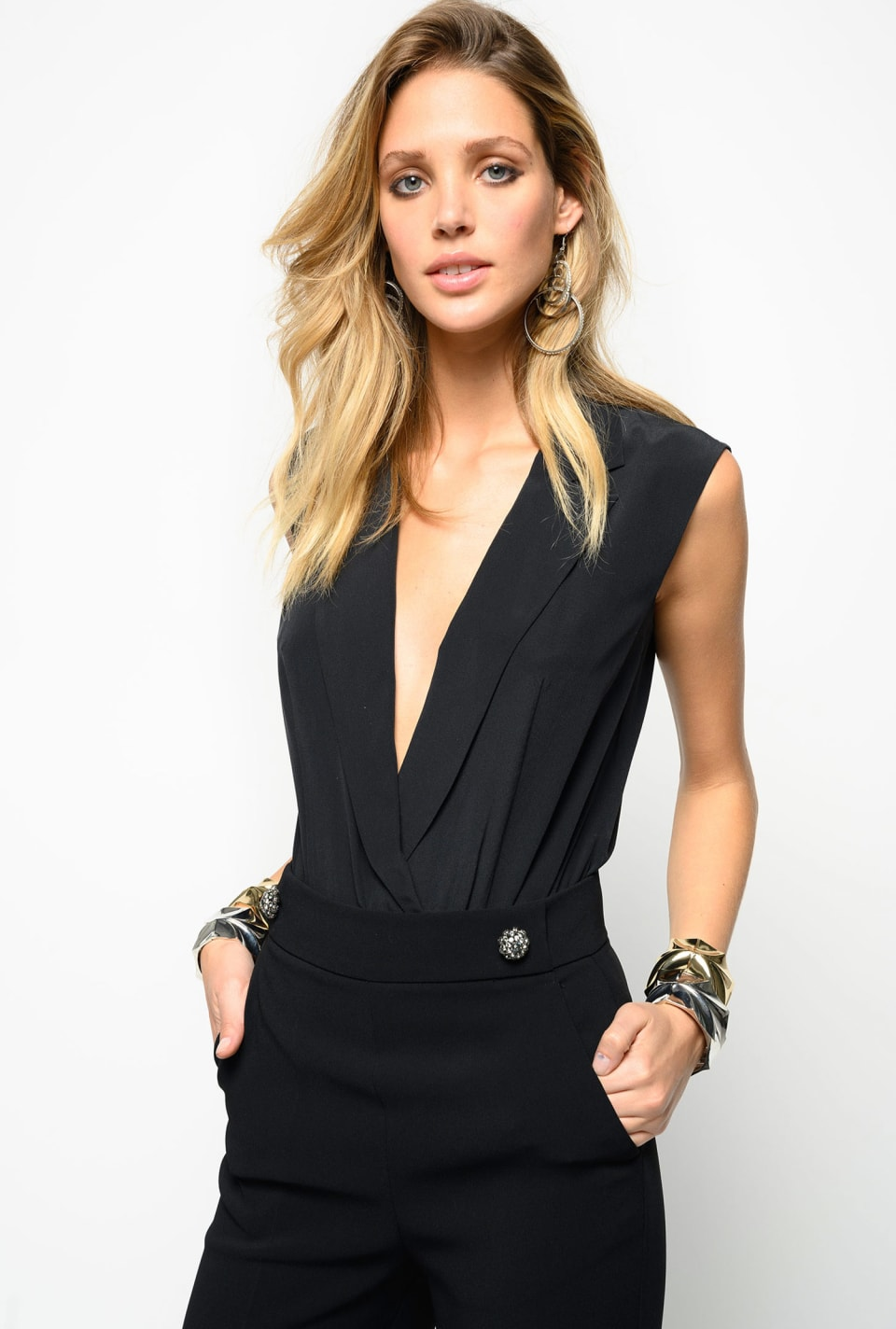 Sleeveless blazer bodysuit