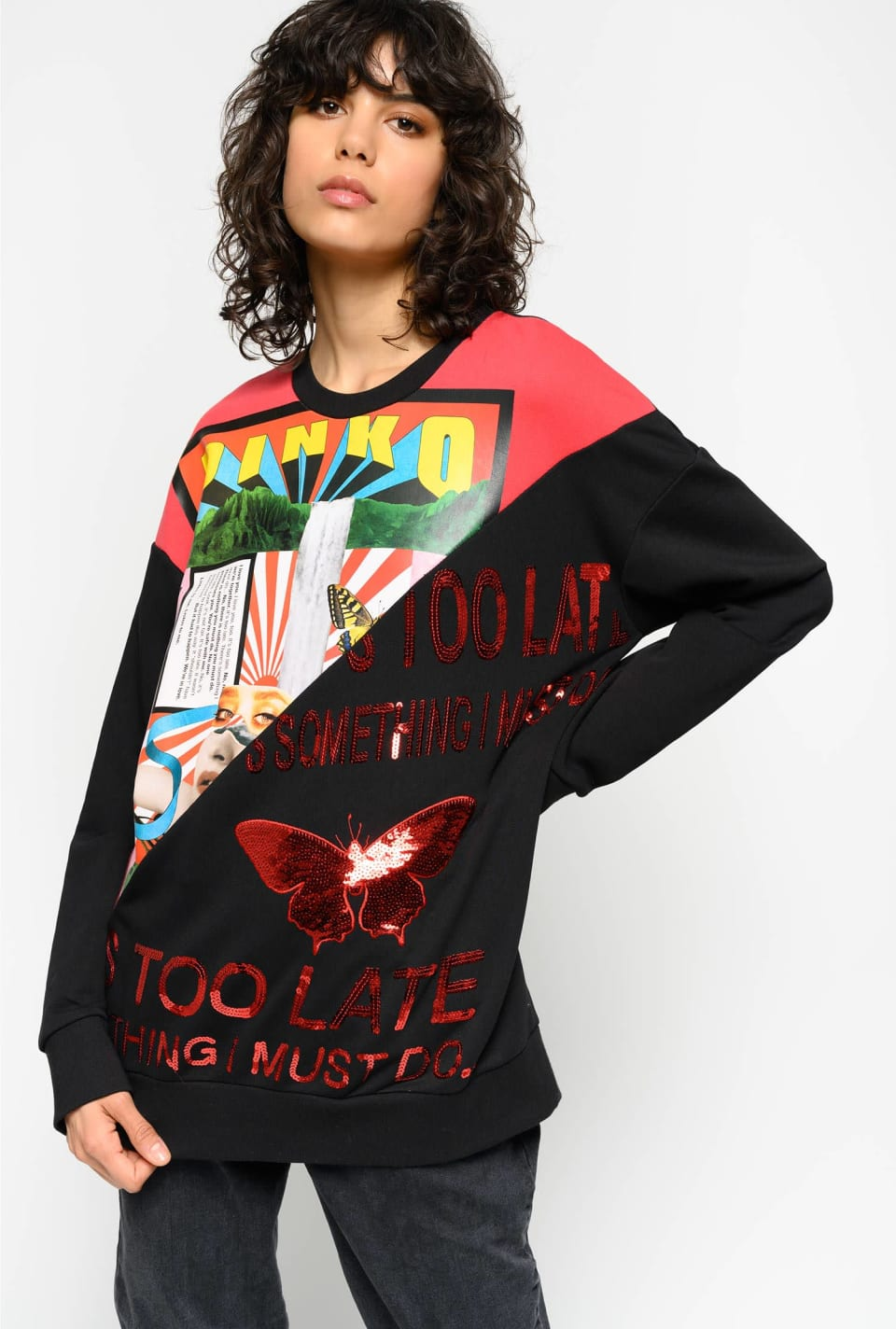 Sweatshirt with print and lettering