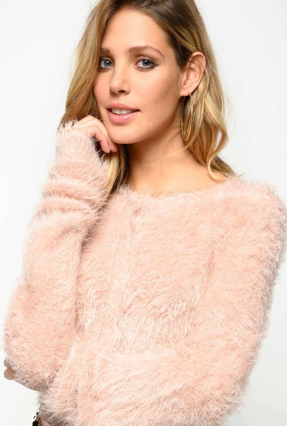 Imitation fur cardigan