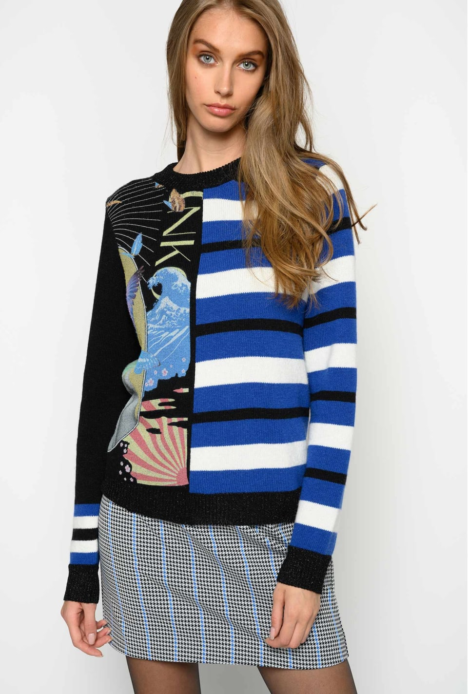 Jacquard pullover with print