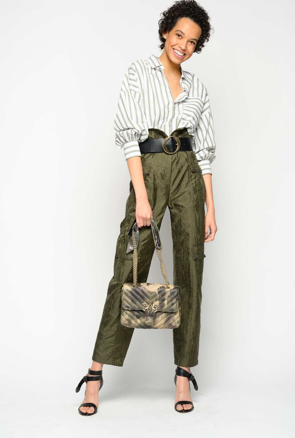 Trousers in moiré taffeta - Pinko