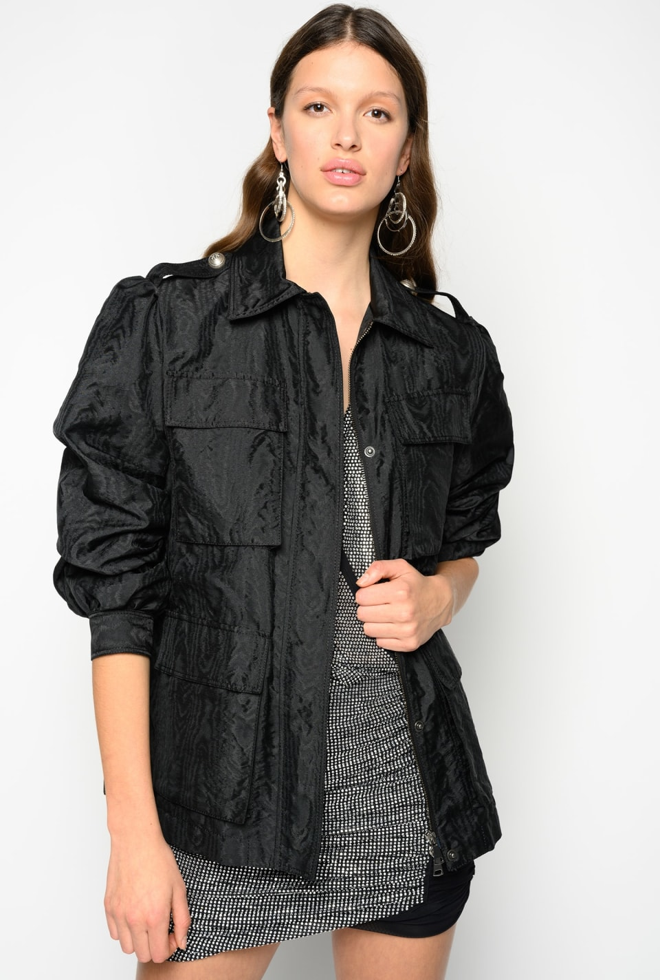 Field jacket in moiré taffeta