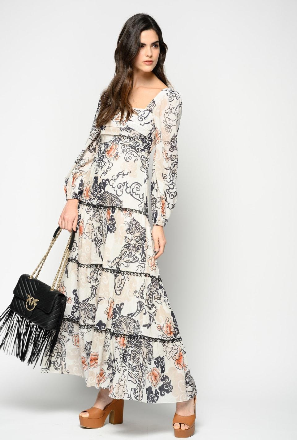 日式老虎印花长连衣裙