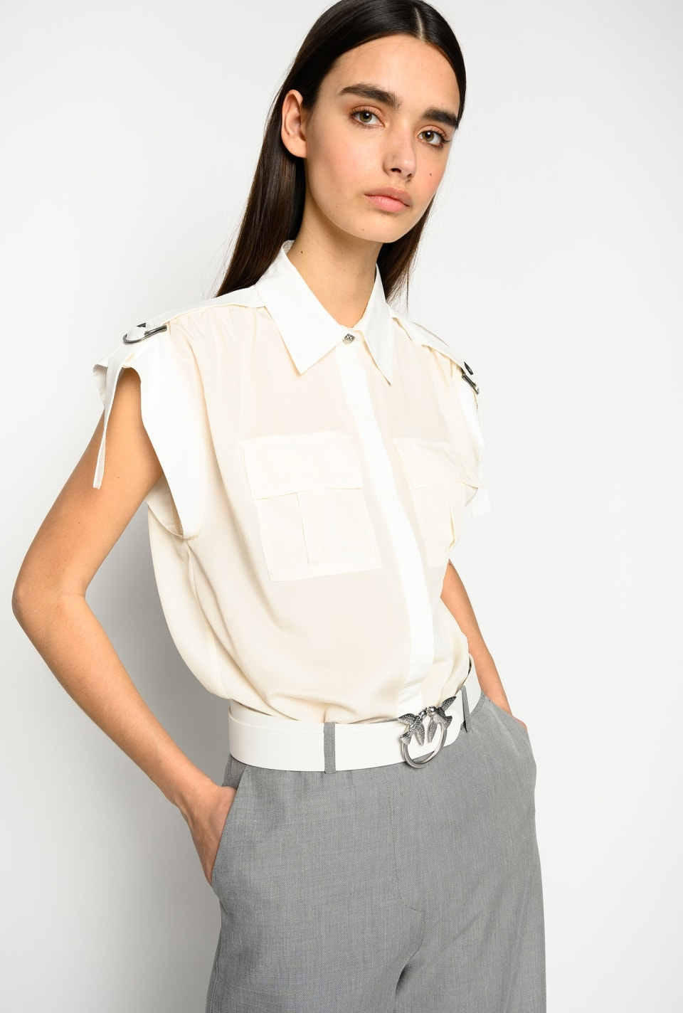 Utility-style sleeveless shirt