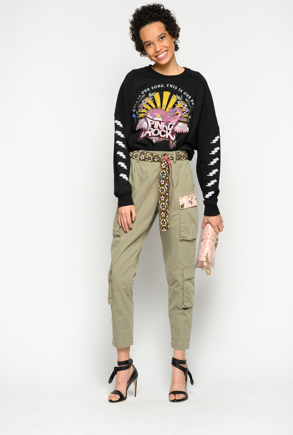 Trousers with contrasting belt - Pinko