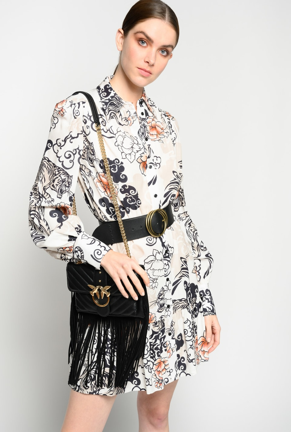 Japan tiger print shirtdress