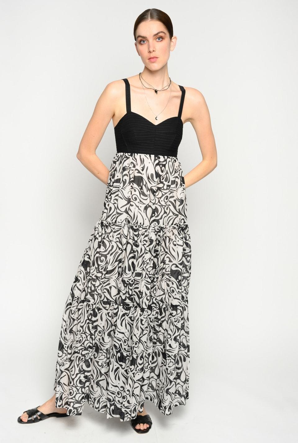 日式印花长连衣裙