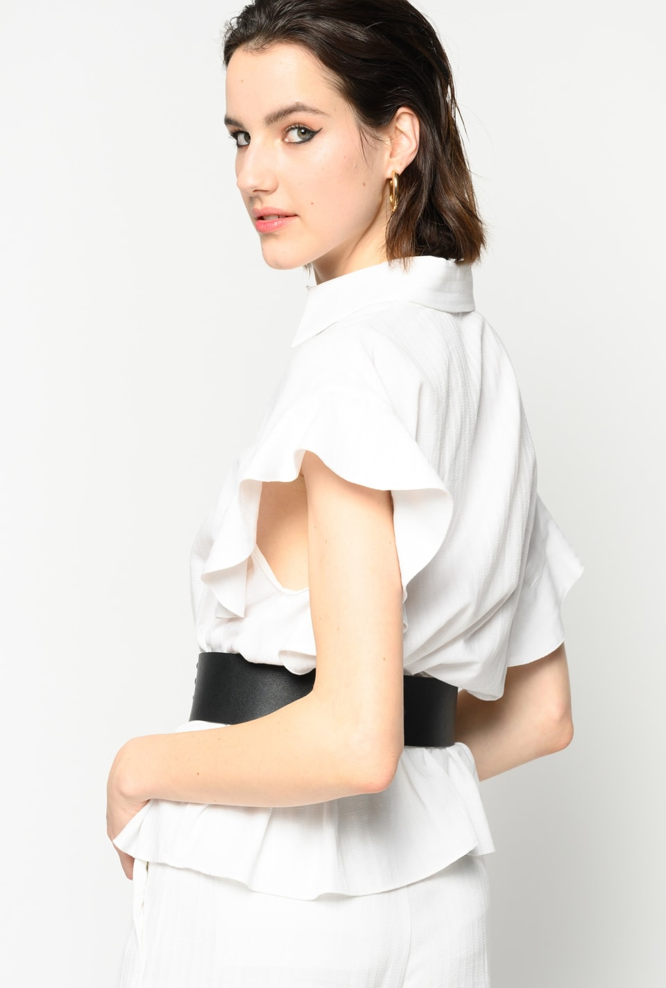 Shirt with cap sleeves