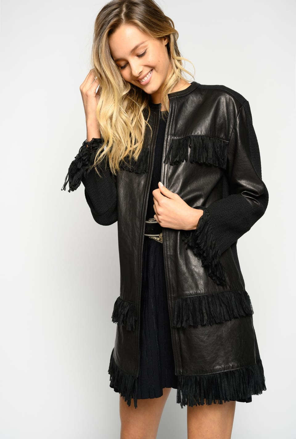 Long leather jacket with fringes