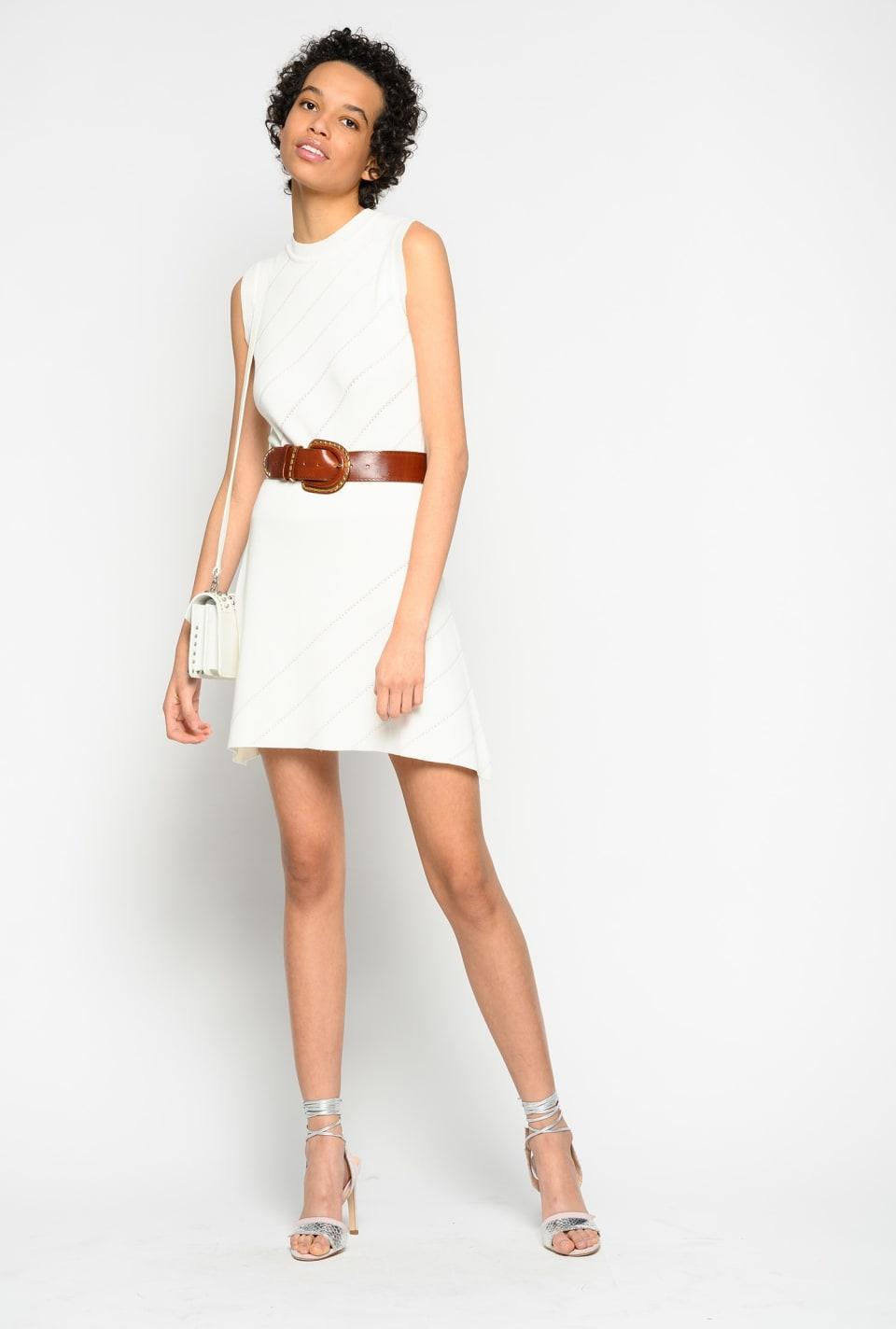 Minifalda con motivo de punto calado oblicuo