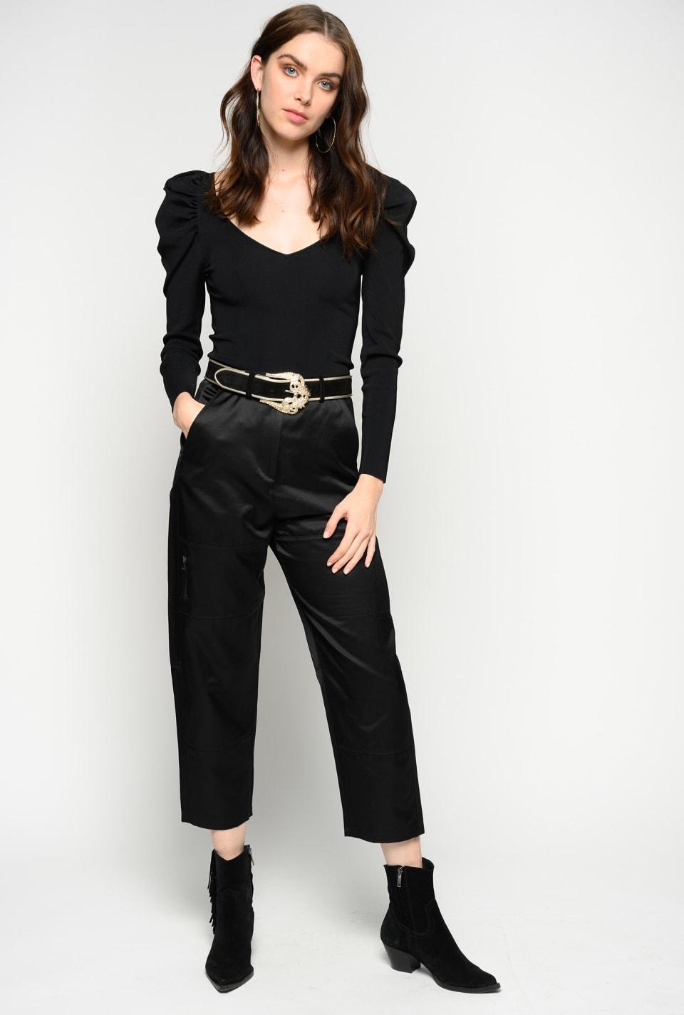 Pantalón estilo motero de raso
