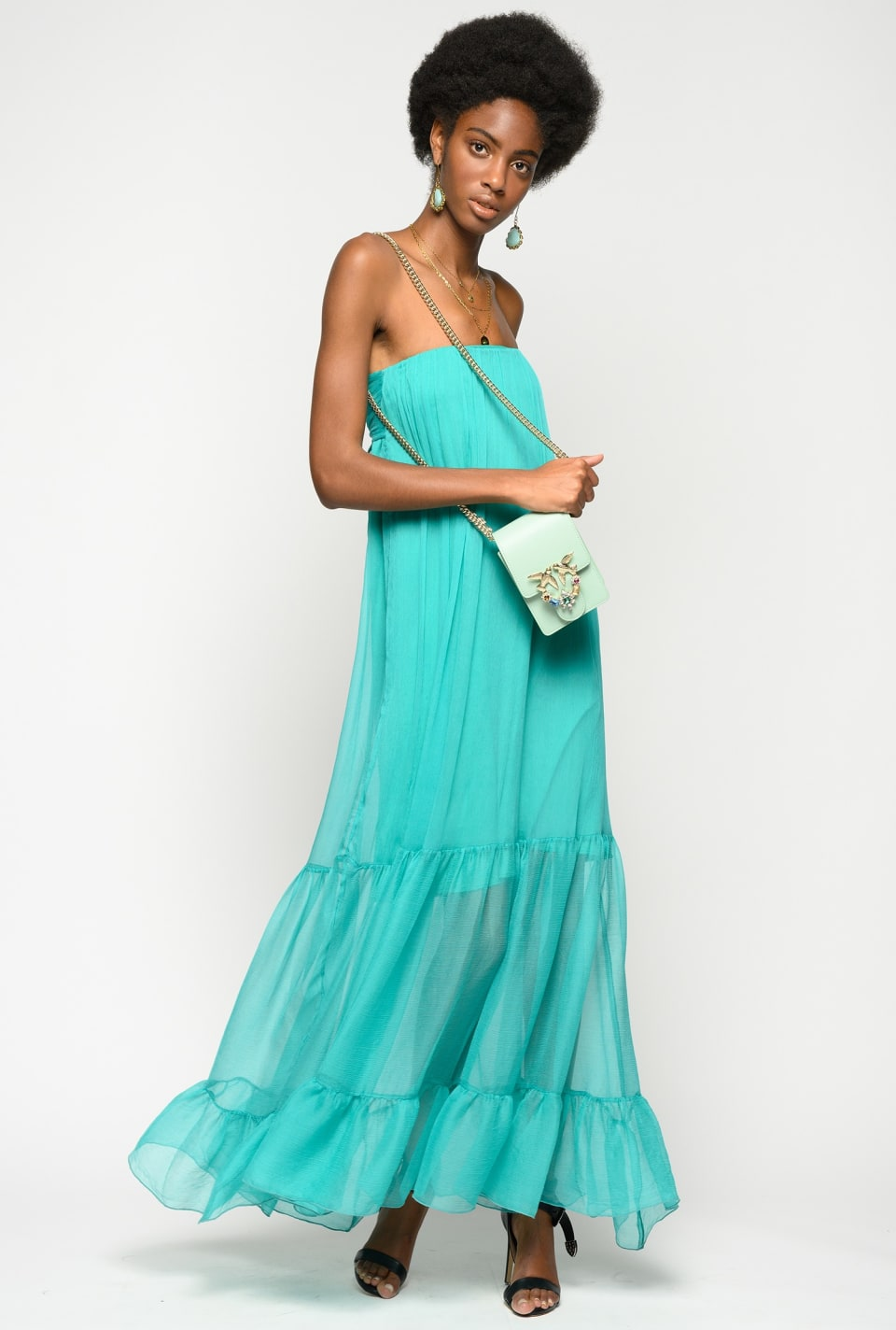 Maxi flounced silk dress