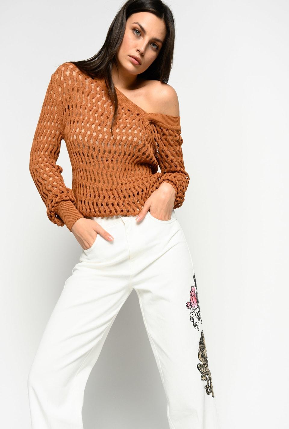 Pull tricoté au point ondulé