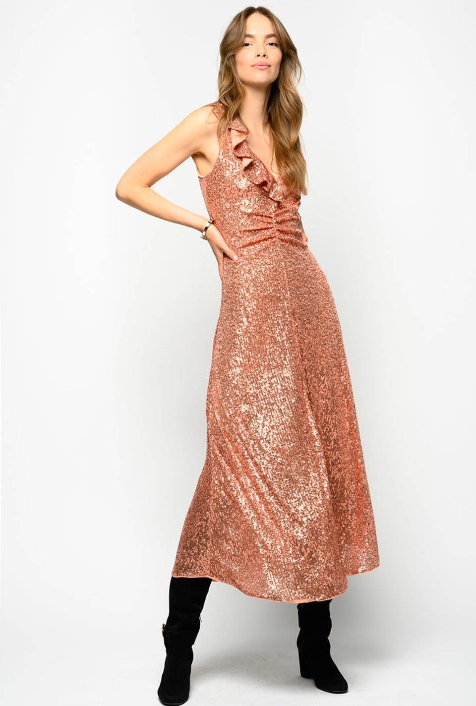 All-over sequin dress with ruffles - Pinko