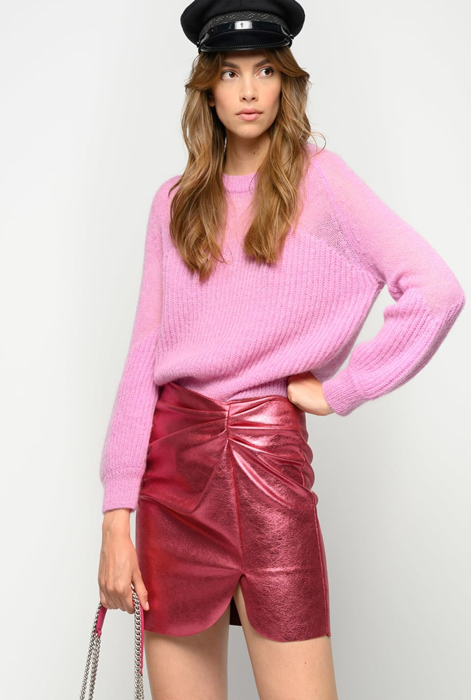Laminated mini skirt with gathering - Pinko