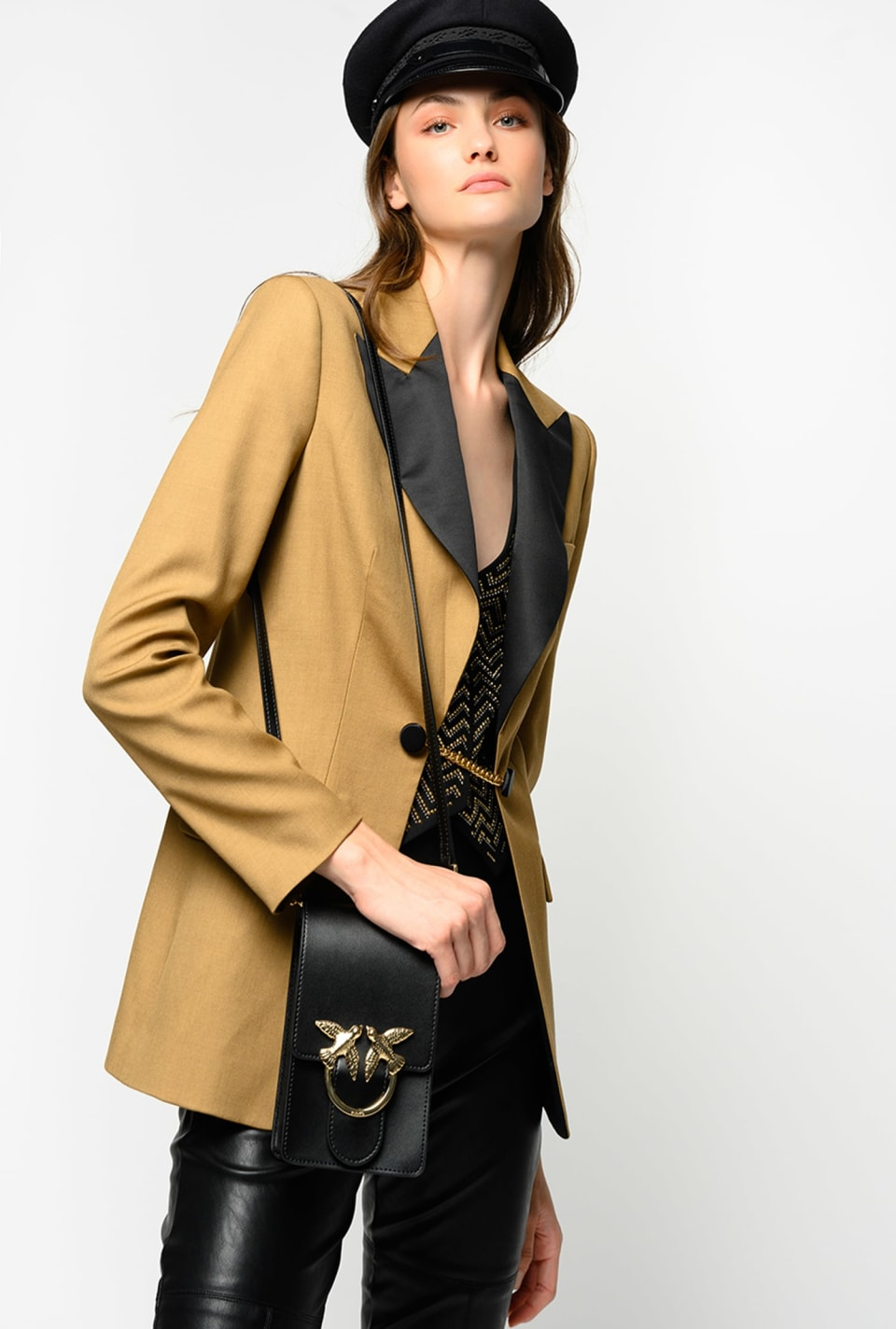 Blazer with waistcoat embellished with metal rhinestones - Pinko