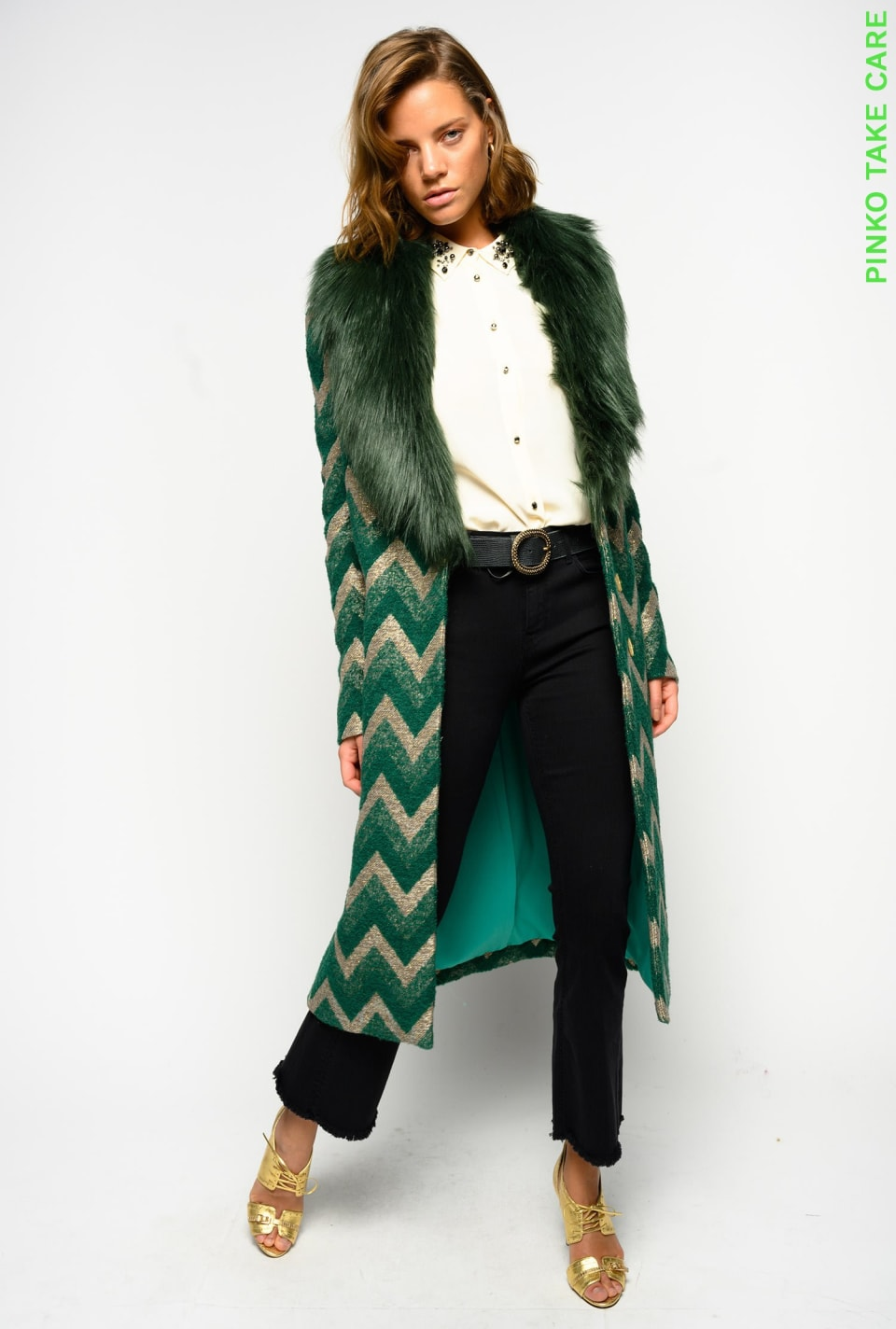 Chevron jacquard coat